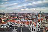Panoramic urban landscape above historical part of Munich, Germany.