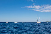 luxury  big white sailing yachts at the sea