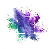 Colorful abstract dust splash on a white background.