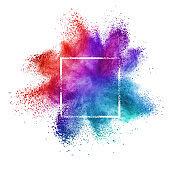 White frame with creative powder splash on a white background.