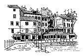 Vector sketch of architecture of Rovinj, Croatia.