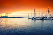 beautiful colorful morning sunlight over marina in Pula, Croatia.