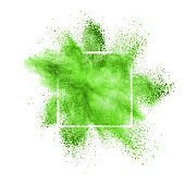 Green powder explosion in a frame on a white background.