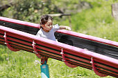 Japanese girl on the slide (5 years old)