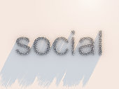 3D illustration of crowd people text form to social word on white floor today lifestyle of people and social media combine in life concept