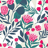 Protea and eucalyptus seamless pattern.