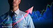 business financial technology  businessman formal suit hand control virtual futuristic device screen double exposure stock market result chart successful growth ideas concept