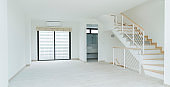 white space room interior with stair to upper level floor home interior design concept