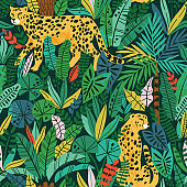 Cheetah with palm leaves exotic seamless pattern