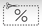 scissors icon cutting coupons and percent sign with dotted line