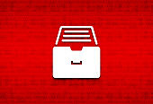 Folder archive cabinet icon abstract digital screen red background illustration