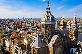 Panoramic aerial view of Amsterdam in a beautiful summer day