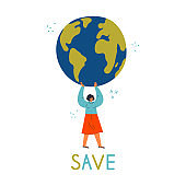 Woman holding the Earth globe. Save lettering