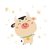 Cute cartoon ox with bell.Happy new year