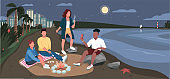 Friends evening picnic at sandy beach flat color vector illustration