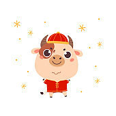 Cute cartoon ox in a traditional costume