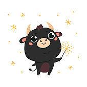 Cute cartoon ox holds a sparkler.Happy new year