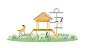 Goat in playhouse flat color vector character