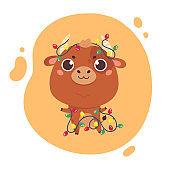 Cute cartoon ox with garland.Happy new year