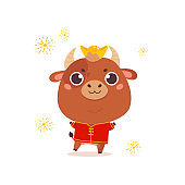 Cute cartoon ox with in a traditional costume