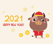 Happy Chinese new year greeting card 2021 with ox