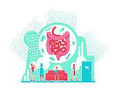 Digestive system health care flat concept vector illustration