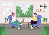 Individual session with psychologist flat color vector illustration