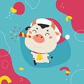 Christmas design template with cute ox