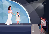 Kids talent show flat color vector illustration