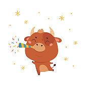 Cute cartoon ox. Happy New Year