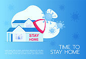 Time to stay home banner flat vector template