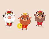 Christmas design template with cute oxen