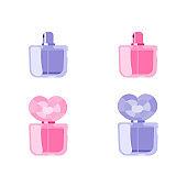 Perfume flat vector objects set