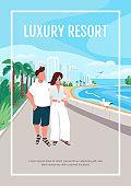 Luxury resort poster flat vector template