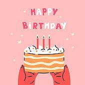 Birthday party cake.Happy Birthday lettering