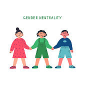 Girl, boy and gender neutral child holding hands