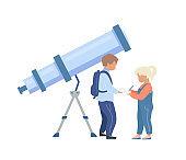 Kids in planetarium flat color vector faceless character