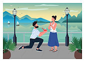 Romantic proposal flat color vector illustration