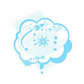 Thought of physics problem flat concept vector illustration