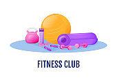 Fitness club flat concept vector illustration