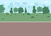 Park way flat color vector illustration