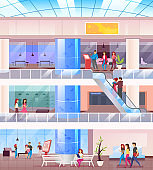 Shopping mall flat color vector illustration