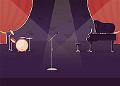 Jazz concert preparation flat color vector illustration