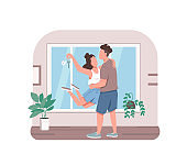 Young couple with new apartment key 2D vector web banner, poster