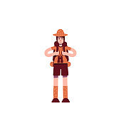 Explorer with backpack flat color vector character