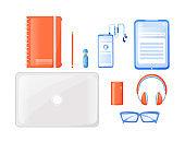 Freelancer travel essentials flat color vector objects set