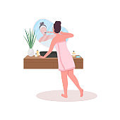 Woman in towel washing teeth flat color vector faceless character