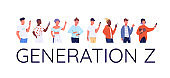 Generation Z flat color vector faceless characters set