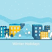 Winter holidays in the city, modern house with snowflake. Christmas city landscape. Flat vector illustration. Landing page template