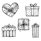 Hand drawn collection with gift boxe sketches on white background. Xmas celebration. Holiday present. New year and st. Valentines day gift surprise. February 14 present boxes